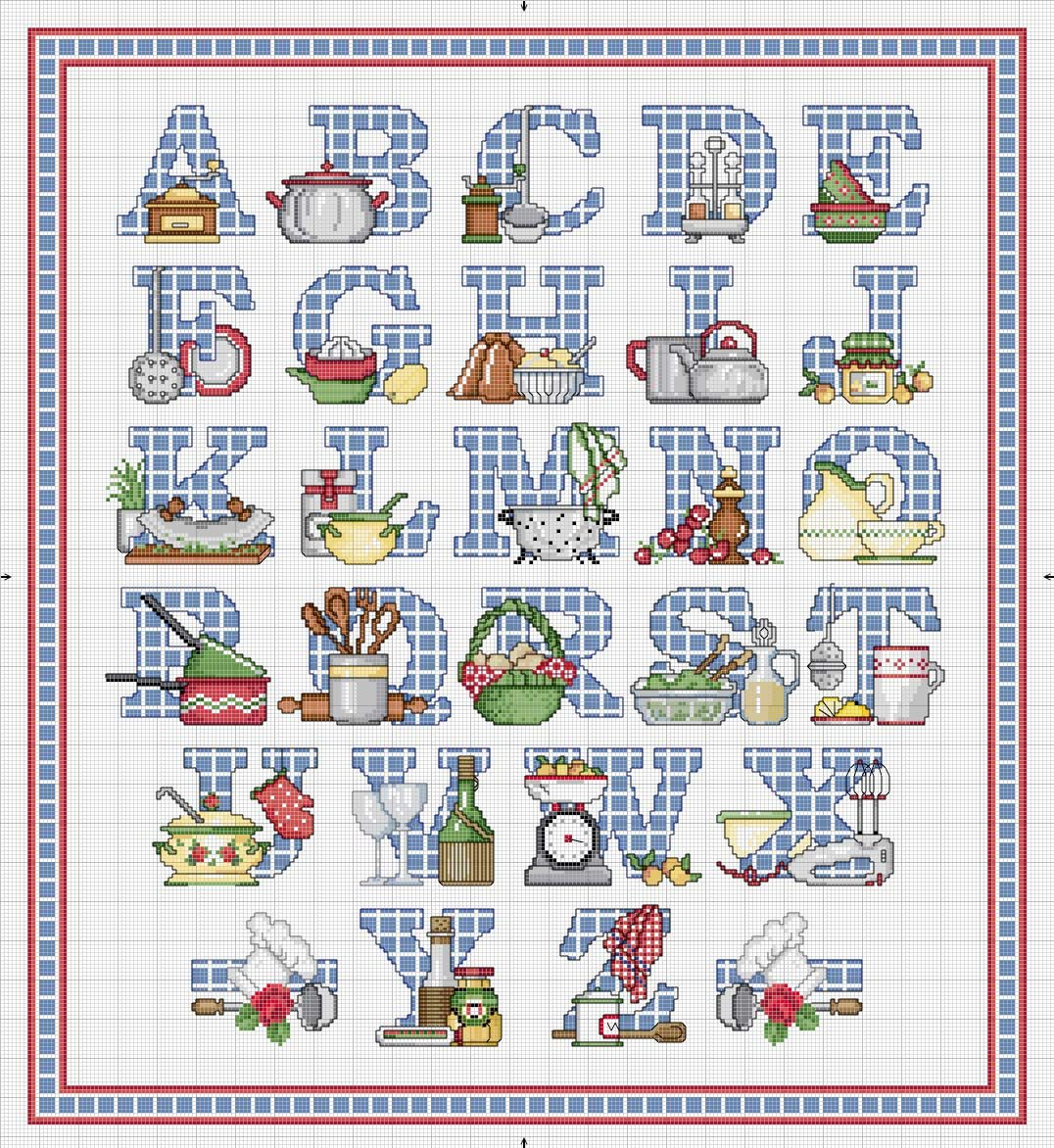 Schema Punto Croce Alfabeto Cucina Alphabets Pinterest Cross
