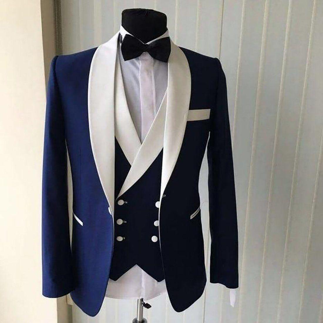 2018 White Burgundy Lapel Men Wedding Suit Slim Fit 3Pcs Tuxedo Groomsman Custom