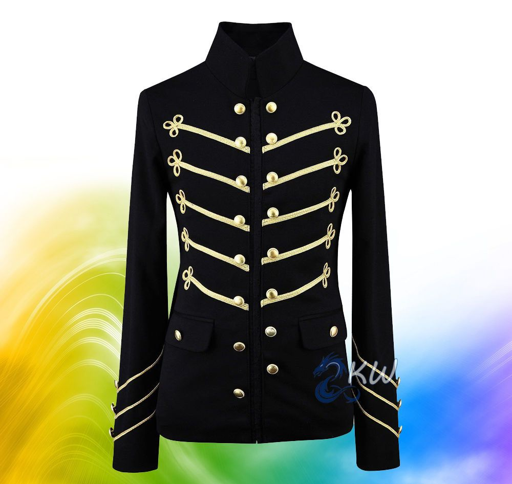 Men Handmade Embroidery Black Military Napoleon Hook Jacket 100/% Cotton