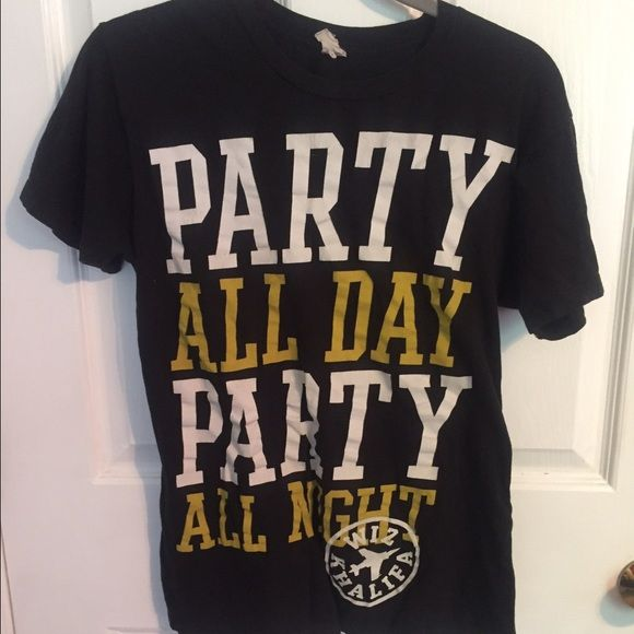 Wiz Khalifa tee * Some wearing in the letters * party all day party all not basic tee Tops Tees - Short Sleeve