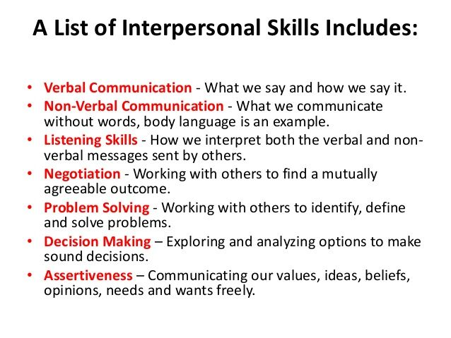 Skills in interpersonal relationships | Interpersonal ...