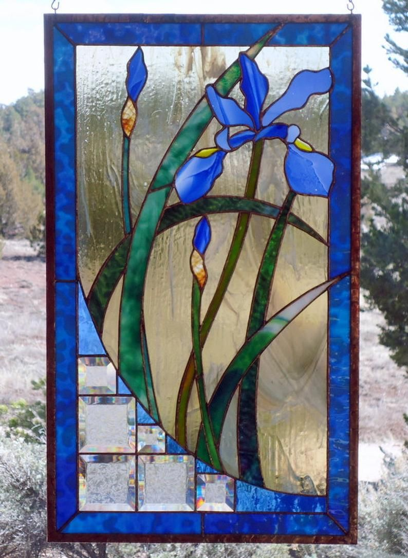 Stained Glass Window Panel Baby Bluehand Blown Etsy In 2020 Stained Glass Diy Stained Glass Flowers Stained Glass Windows