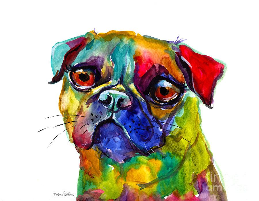 Colorful Pug Dog Painting By Svetlana Novikova Dog Paintings