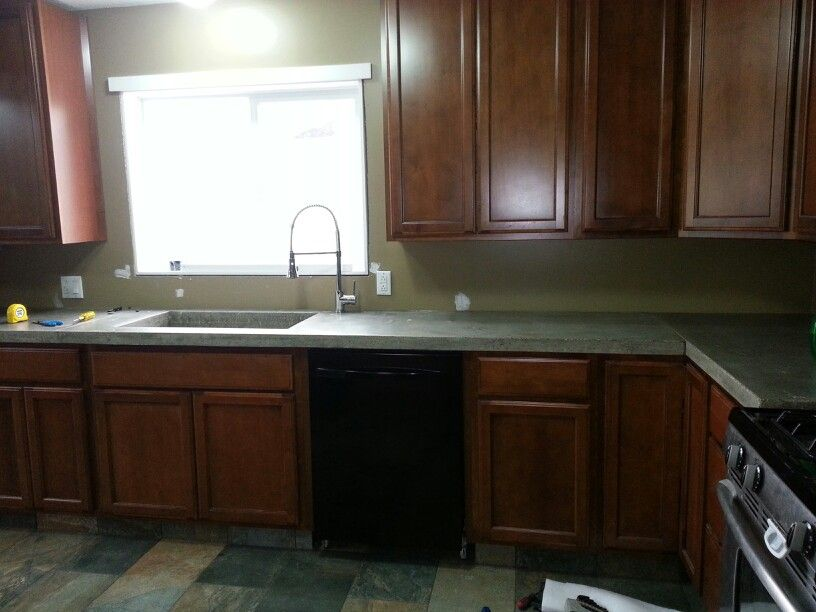 My Kitchen Maple Cabinets Concrete Countertops Side