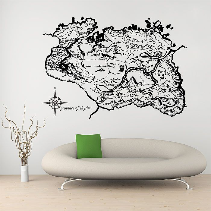 Province of skyrim map wall decal wall sticker wall tattoo wall art home decal