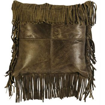 Moss Leather Fringe Accent Pillow