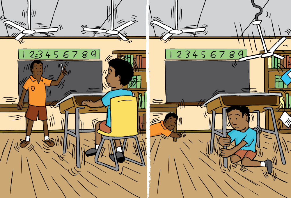 Cartoon Teacher And Student In Classroom Experiencing Earthquake