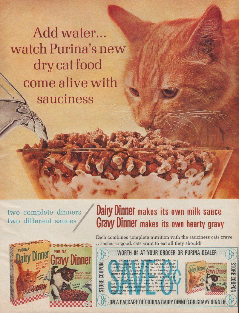 Purina Cat Food Vintage Magazine Advertisement (1964