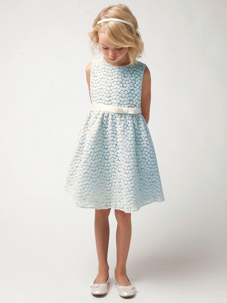 Light Blue Small Flower Embroidery Mesh Dress