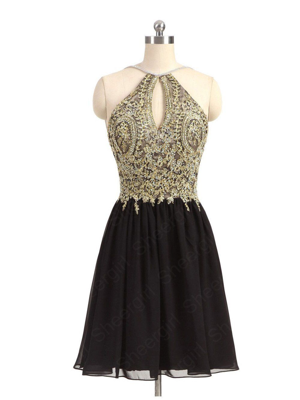 b42d364dde Gold Lace Purple Homecoming Dresses A Line Backless Black Short Porm ...