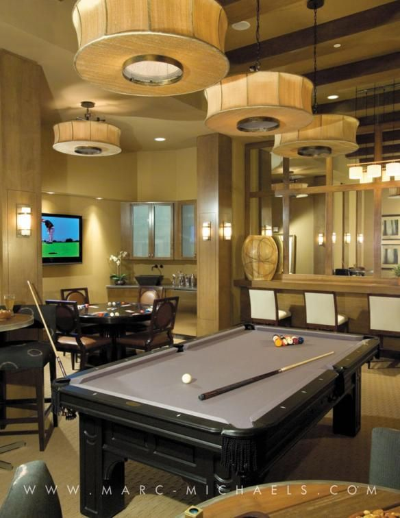 Luxury residential tower game room pool table bar azure for Rec room pools