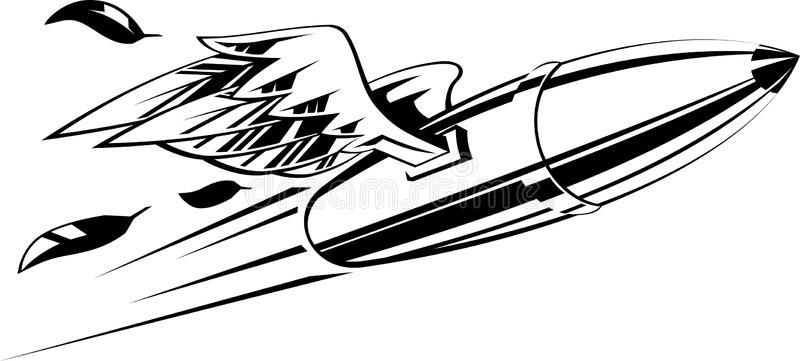 Bullet With Wings Flying Bullet With Wings Vector Illustration Black And White Ad Flying Bullet Bullet Wing Historical Tattoos Bullet Wings Tattoo