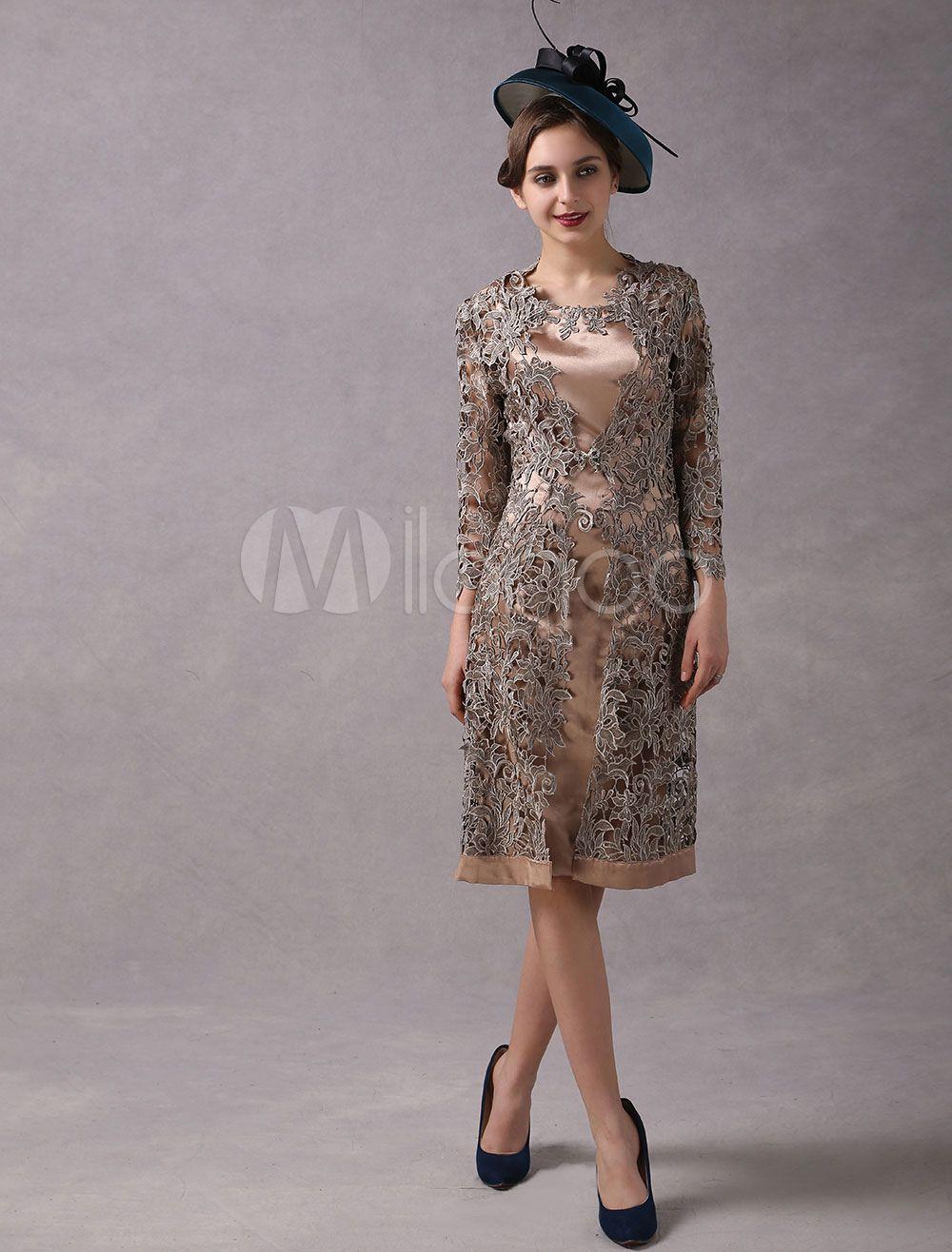 bd5967c0d0d Wedding Guest Dresses 2 Piece Mother Suits Taupe Lace Satin Vest And Jacket  Wedding Party Dress  Piece