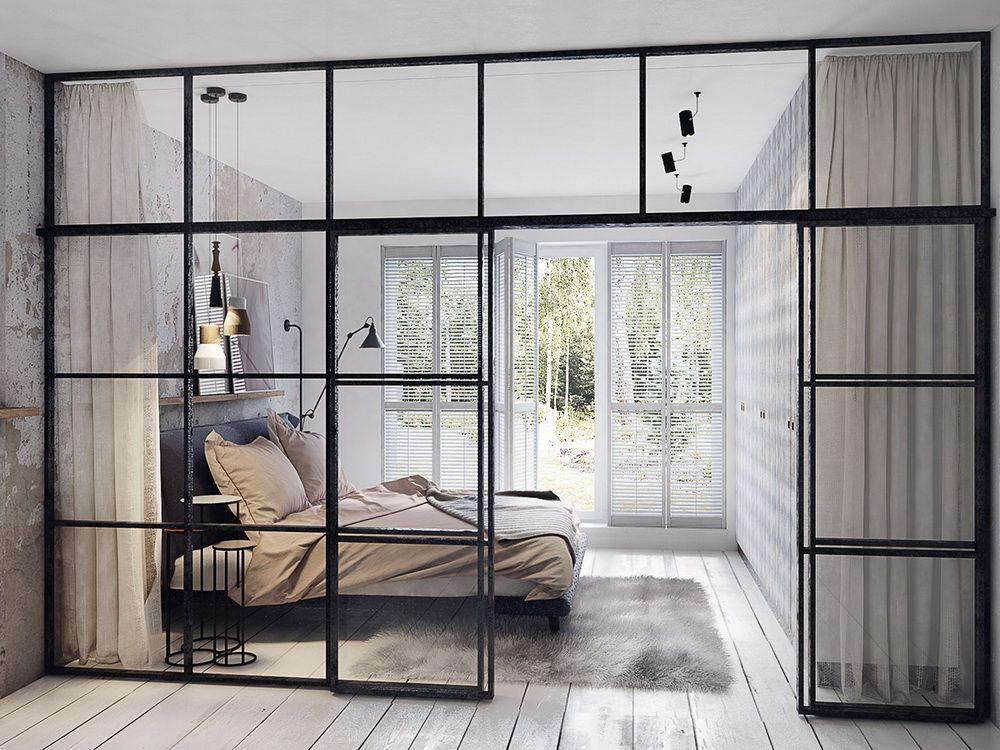 Une grande verri re pour plus de luminosit home en 2019 loft verriere des murs de verre et - Paroi coulissante chambre ...
