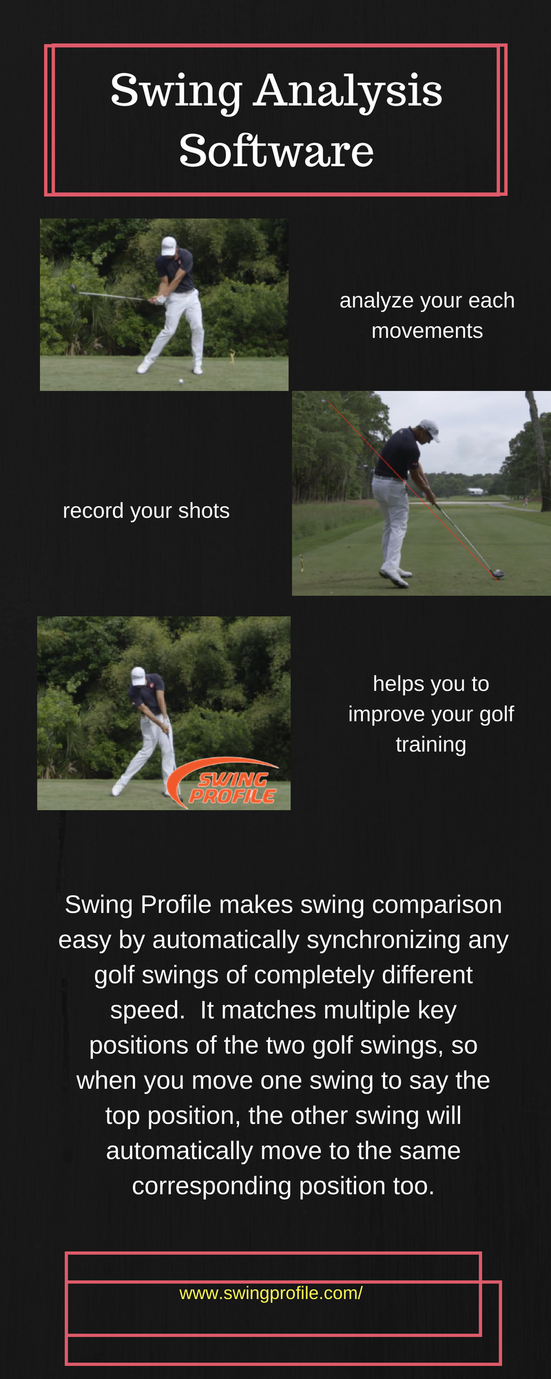 the swing analysis Swing profile is an amazing development in swing analysis software in a few easy steps you can record and view your swing in a number of key positions, helping you to see and understand the swing changes you are working on with your pga professional.