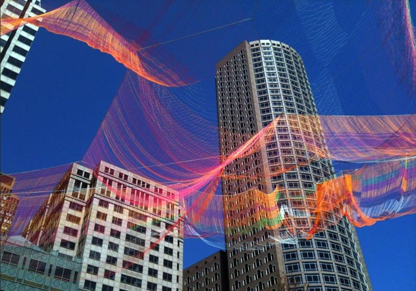 Janet Echelman artwork titled As If It Were Already Here , Boston