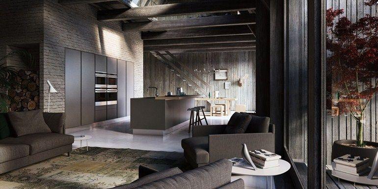 Cozinha lacada de folheado de madeira com ilha VELVET PROFILE C - GeD cucine by GeD Arredamenti