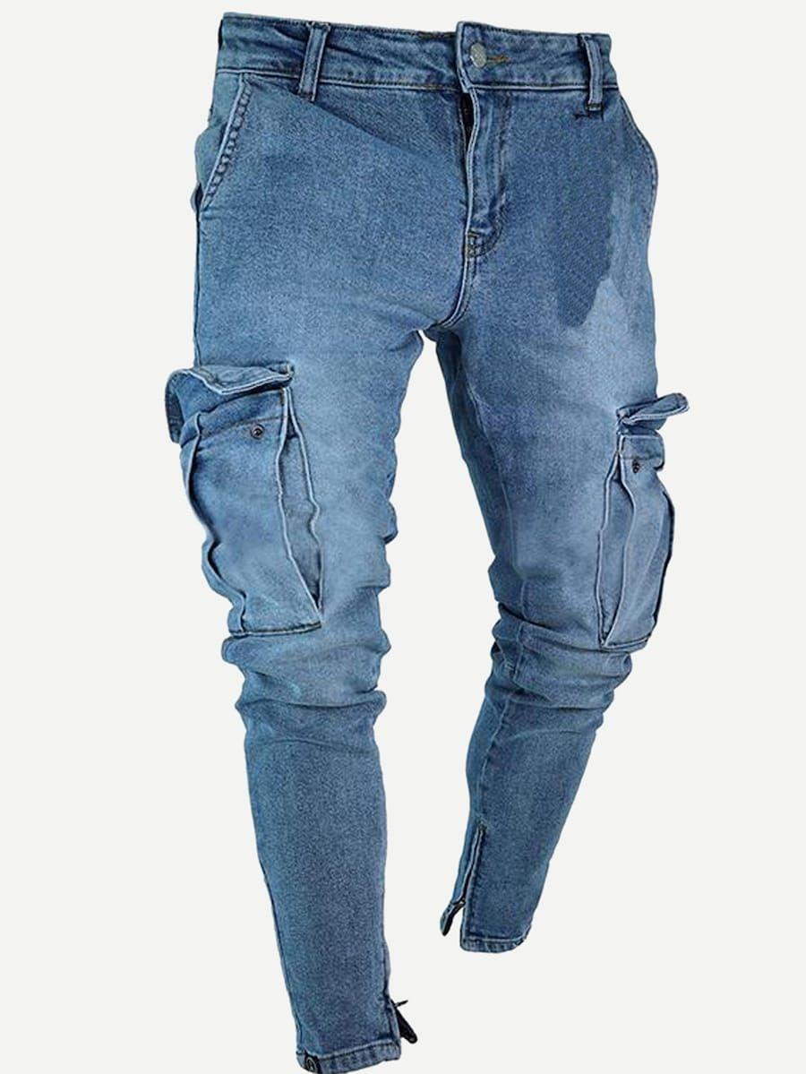 Men Pocket Zipper Detail Jeans Shein Sheinside Pantalones De Hombre Moda Jeans Para Hombre Vaqueros Hombre