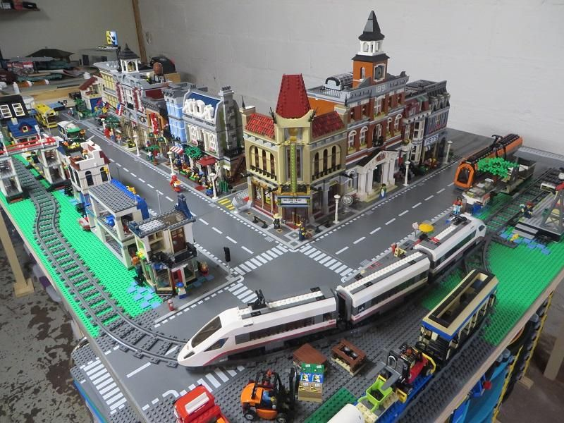 Lego City And Train Layout Model Train Table Model Trains City Layout