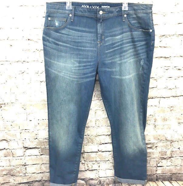 4768a997e955d8 Ava & Viv Womens Jeans Boyfriend Crop Plus Size 18W Distressed Power Stretch  #AvaViv #BoyfriendCapriCropped