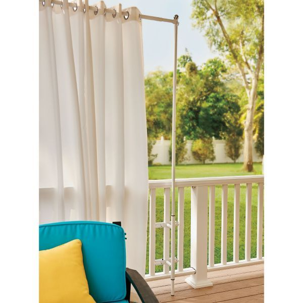 Curtain For Balcony: Railing Curtain Rod And 2 Posts