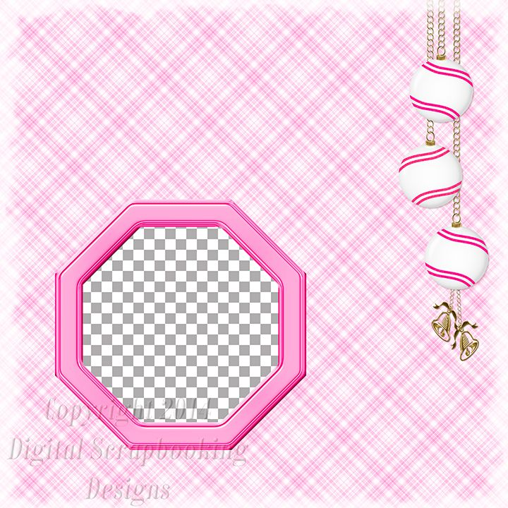 "Layout QP 10F-4 Pink.....Quick Page, Digital Scrapbooking, Christmas Time Collection, 12"" x 12"", 300 dpi, PNG File Format"