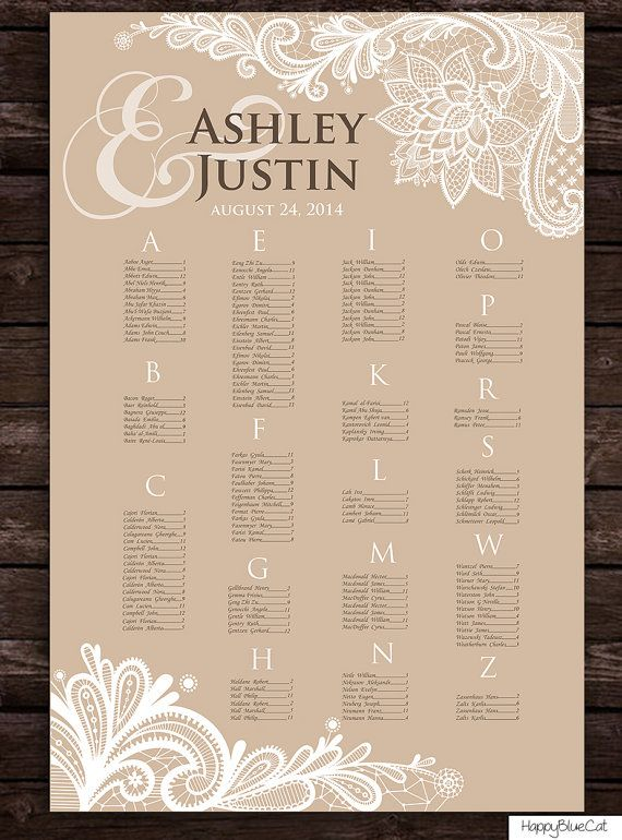 Wedding seating chart rush service rustic bulap lace for Bridal shower seating chart template