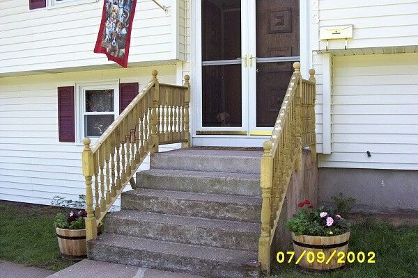 Adding Wooden Handrails To Concrete Steps Outdoor Stair Railing | Exterior Wood Handrails For Steps | Attached | Ready Made | Off Deck | Stoop | Pinterest