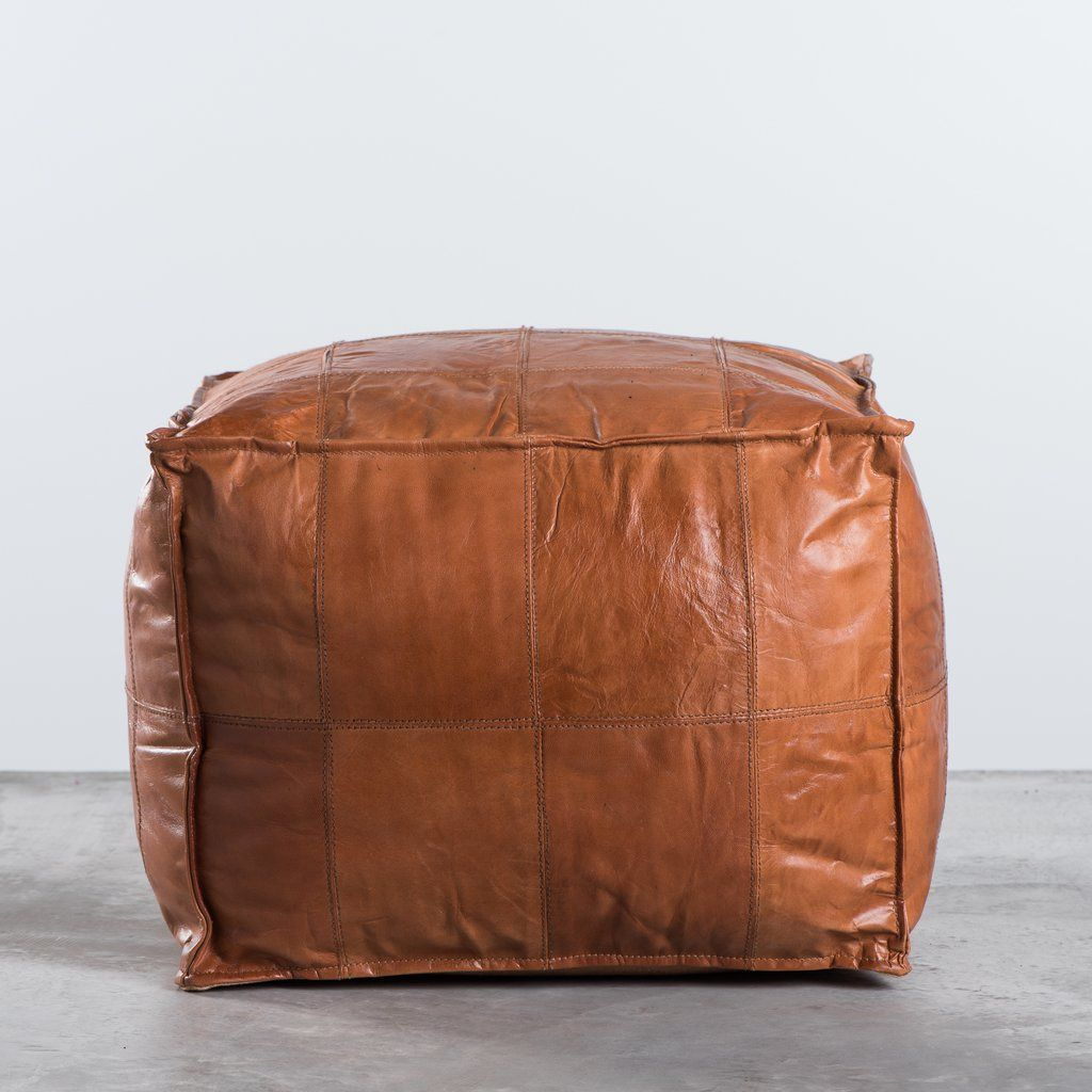 Patchwork Leather Ottoman Coffee Table: Leather Patchwork Ottoman