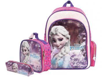 9253ce912 Mochila Infantil Escolar Tam. G Dermiwil - Elsa Frozen + Lancheira ...