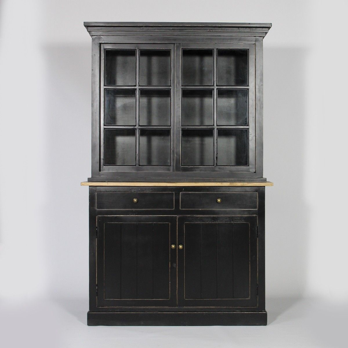 buffet vaisselier 2 corps bari noir 999 50 vaisselier. Black Bedroom Furniture Sets. Home Design Ideas