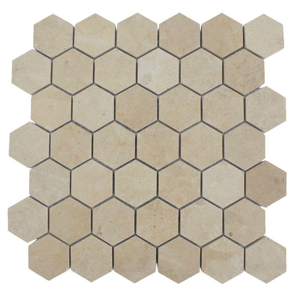 Splashback Tile Jer Gold Hexagon 12 in. x 12 in. Polished Natural ...