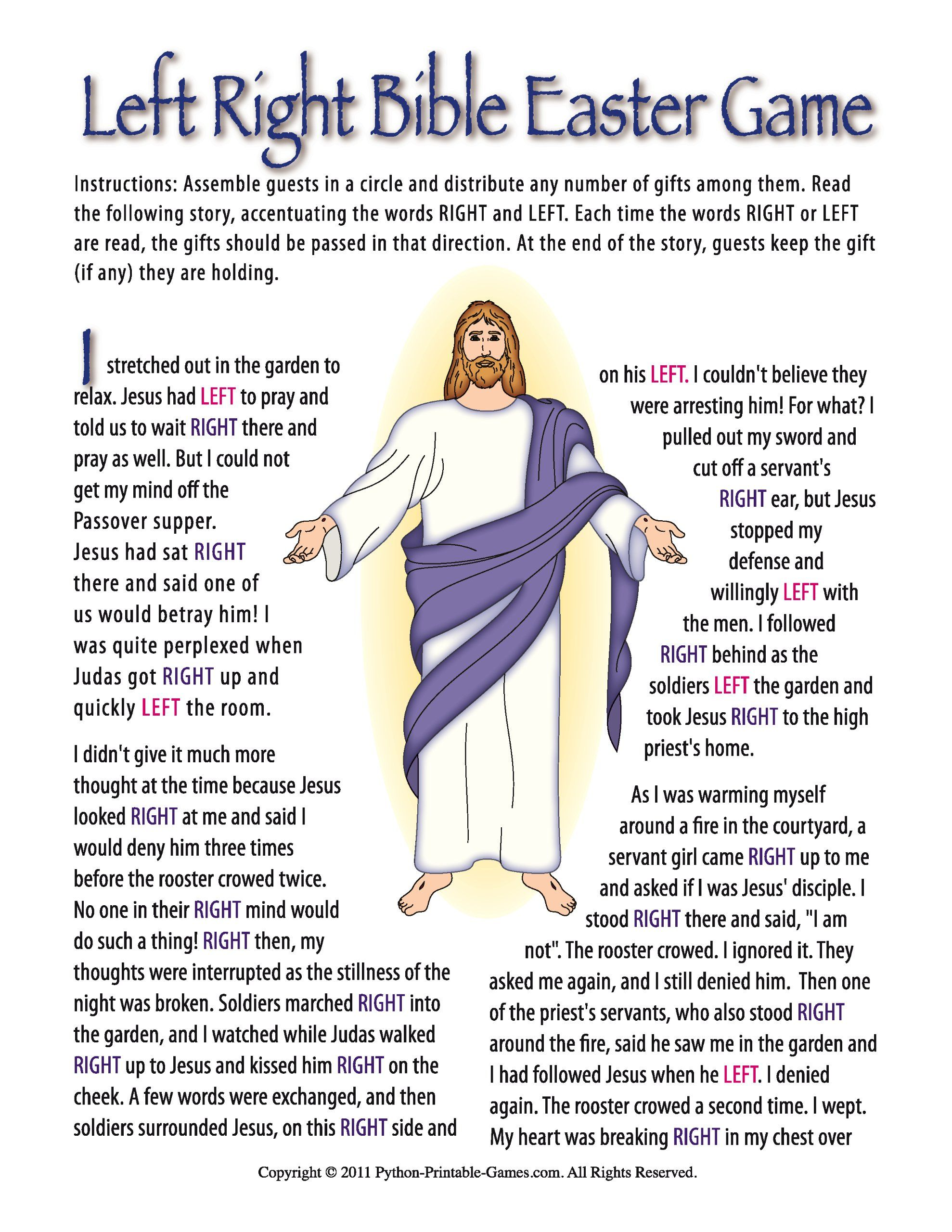 Printable Christian Easter Bible Left Right T Exchange