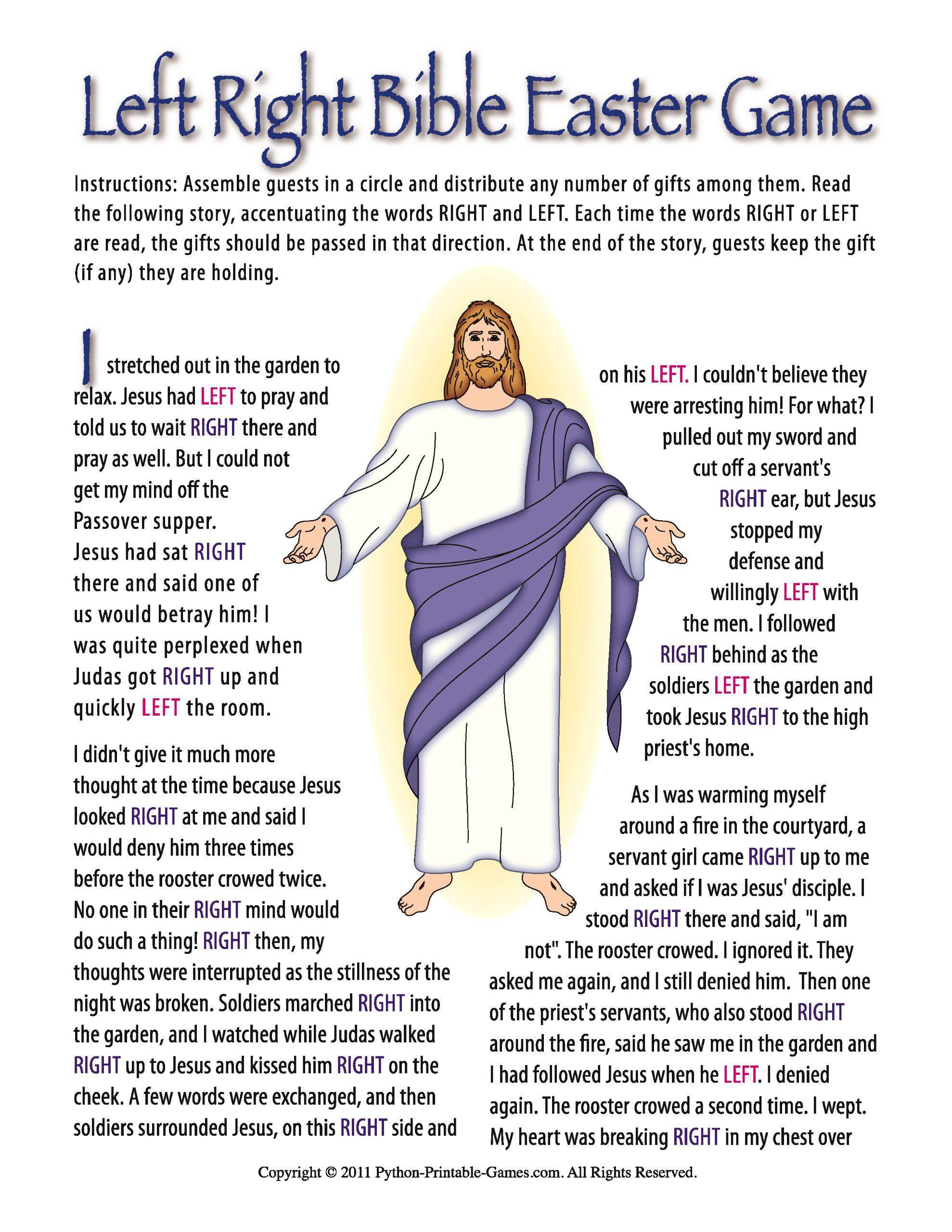Printable Christian Easter Bible LeftRight Gift Exchange