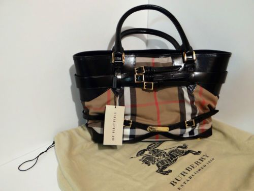 NWT-Authentic-Burberry-House-Check-Iconic-Bridle-Lynher-Hobo-Tote-Bag-2013
