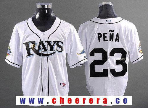 Men's Tampa Bay Rays #23 Carlos Pena White 2008 World Series Patch Stitched MLB Collection Jersey