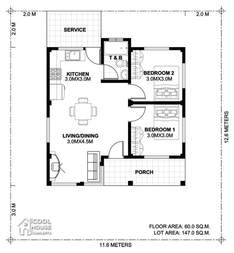 Home Design Plan 11x12m With 2 Bedrooms Home Design With Plan Two Bedroom House Design One Bedroom House Plans Two Bedroom House