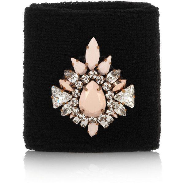 Shourouk Wimblee Swarovski crystal-embellished stretch-terry wristband ($245) found on Polyvore