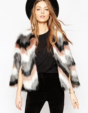 ASOS Chevron Faux Fur Cape