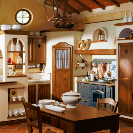 CUCINA RUSTICA CON ANTE IN LEGNO - Arredamento Shabby | Кухня ...
