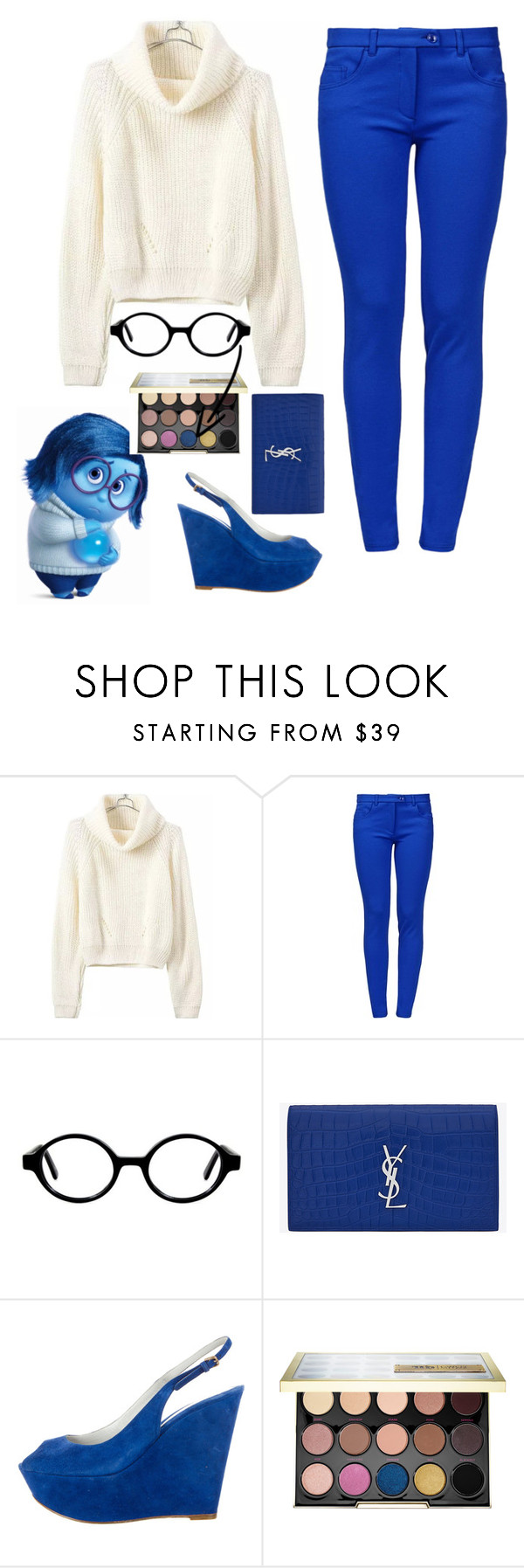 """""""Inside out - sadness"""" by shexigshexicorn ❤ liked on Polyvore featuring Boutique Moschino, Ernest Hemingway, Yves Saint Laurent, Sergio Rossi and Urban Decay"""