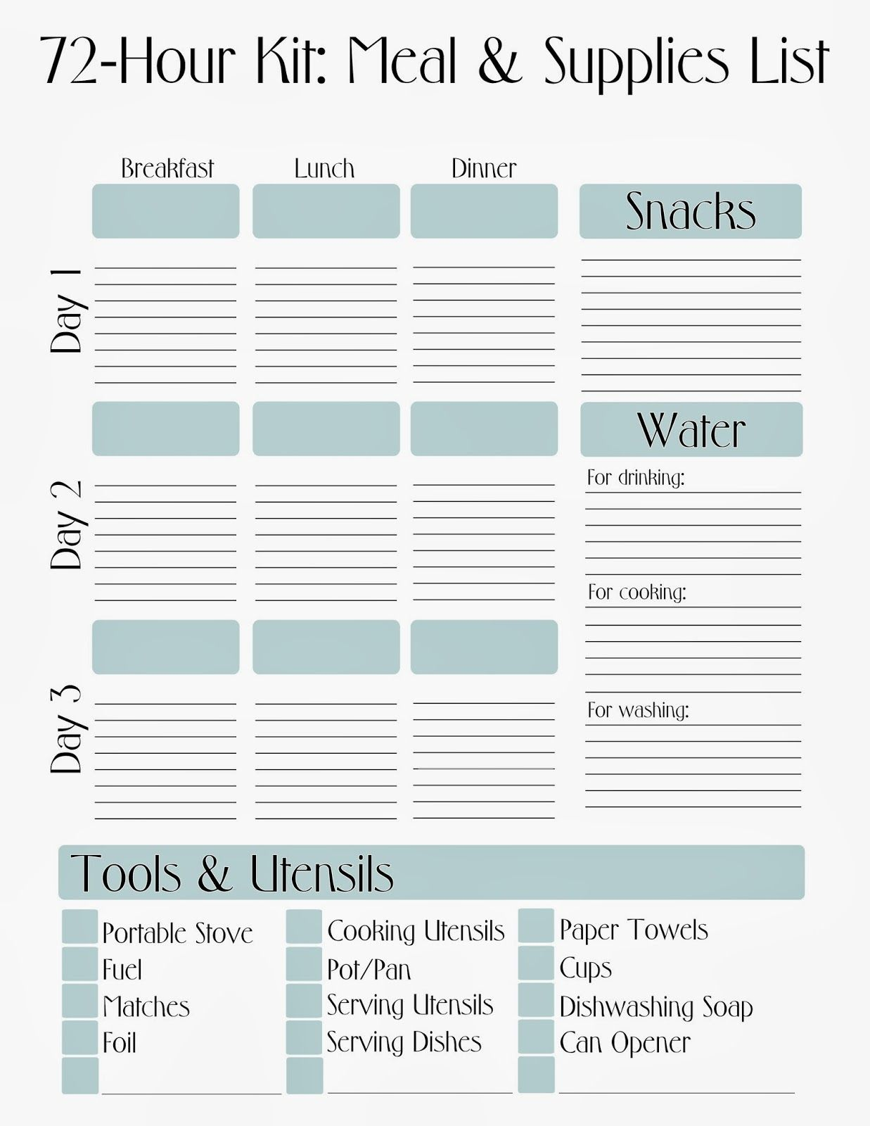 Free Printable 72 Hour Kit Meal Amp Supply List With