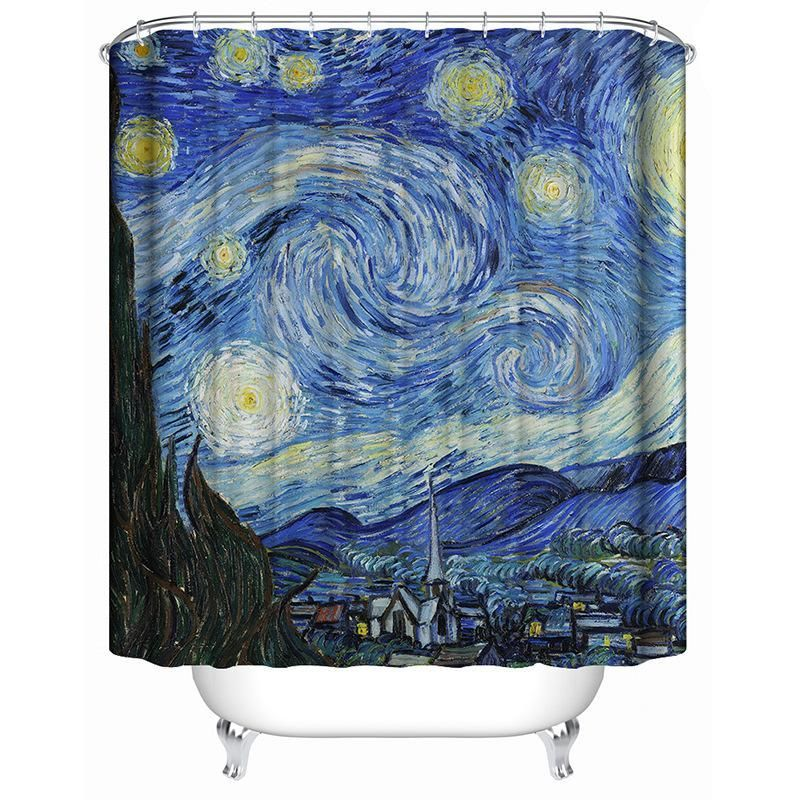 Starry Night By Vincent Shower Curtain For Bathroom Tychome Afro