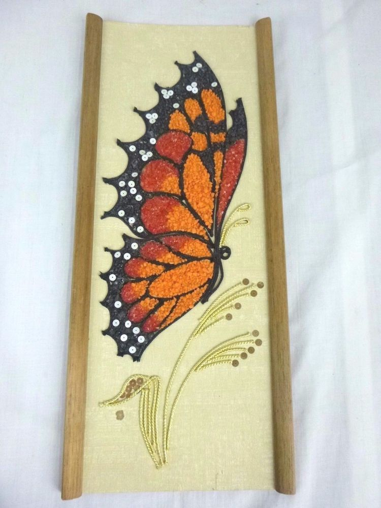 Vtg Mid Century Gravel Pebble Art Wall Hanging Monarch Butterfly 7.5 ...