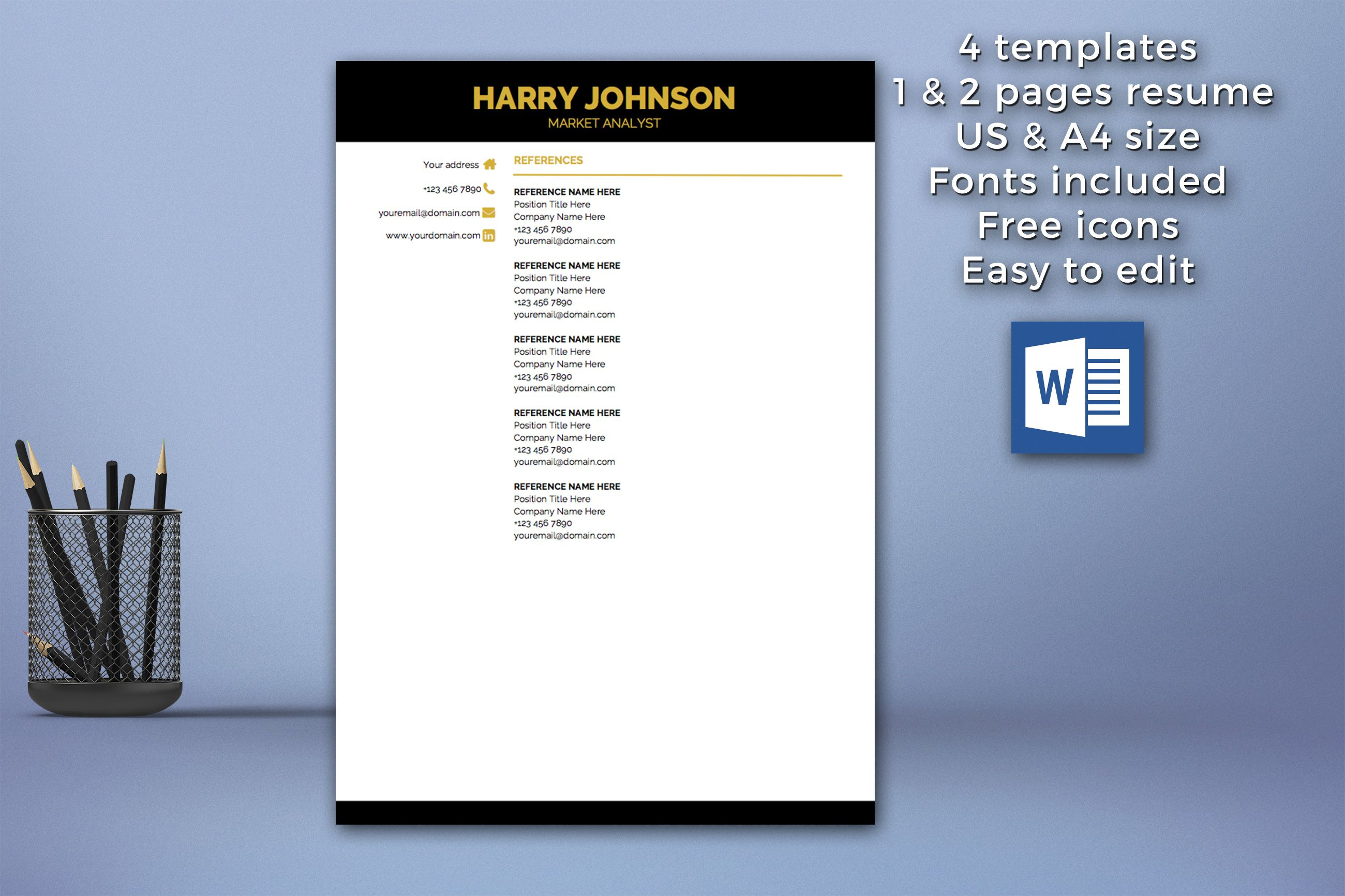 Modern Resume Template Instant Download 1 2 Pages Cover