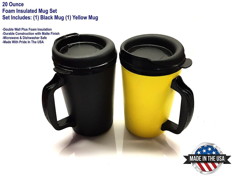 2 ThermoServ Foam Insulated Coffee Mug 20 oz w/Lids (1