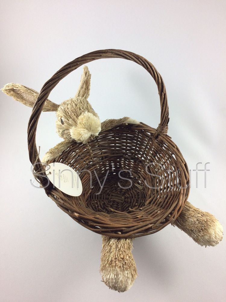 New Pottery Barn Laid-Back Bunny Rabbit Rimmed Basket Natural Straw Sisal Easter