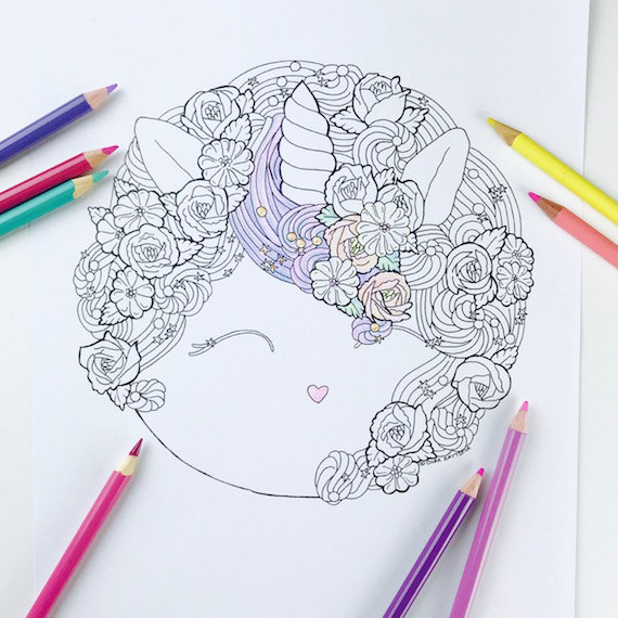 Magical Unicorn Buttercream Cake Coloring Page For Adults Hand Drawn