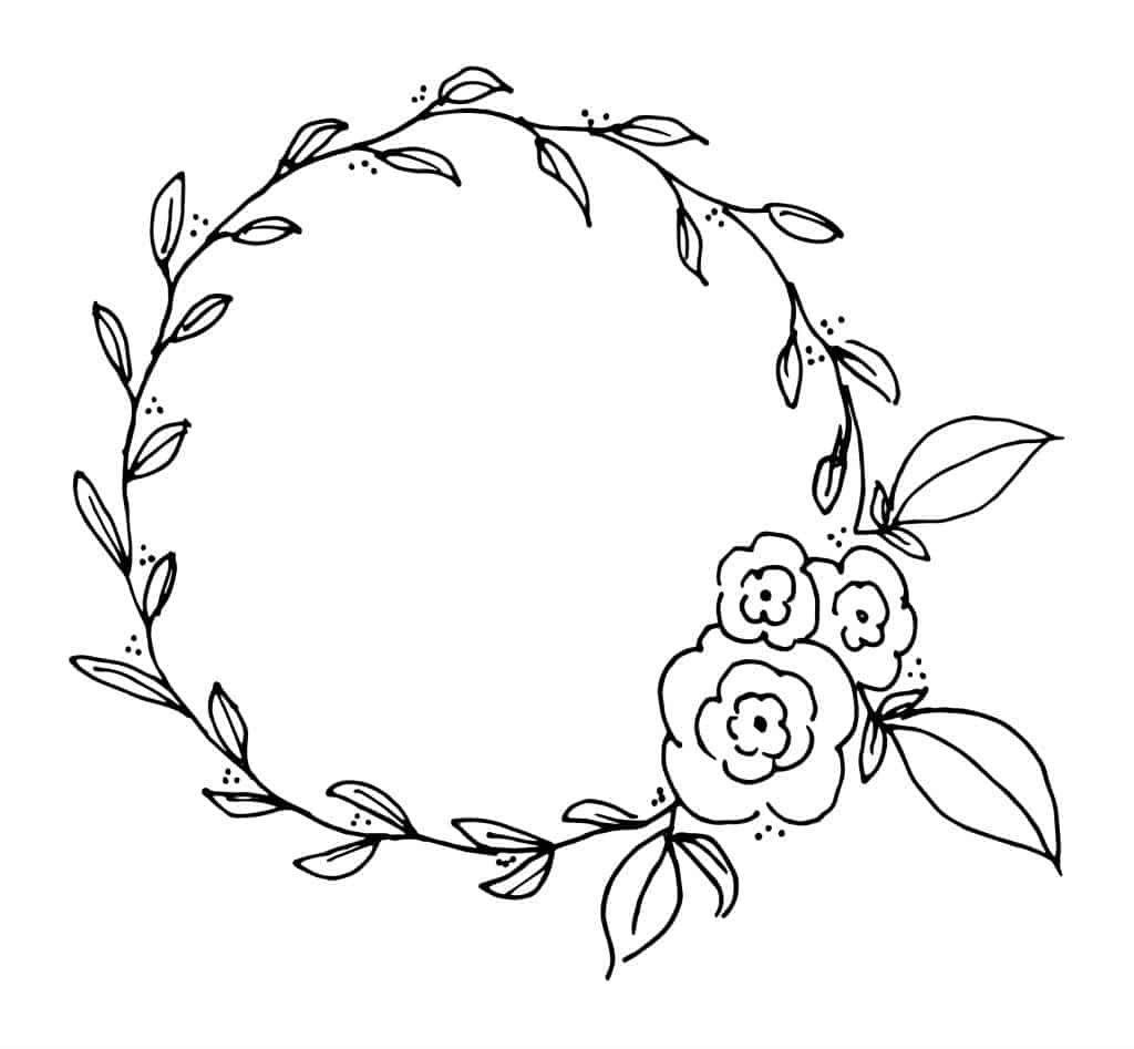 Printable Wreath Freebie Coloring And Lettering Page Tortagialla Floral Wreath Drawing Floral Wreath Printable Embroidery Flowers Pattern