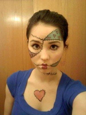 Ragdoll Costume Makeup Face Paint Costume Makeup Rag Doll Costume Rag Doll Makeup